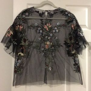 Zara Embroidered Mesh Top